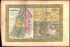 Palestine Holy Land Jerusalem Antique Colored Map 1849
