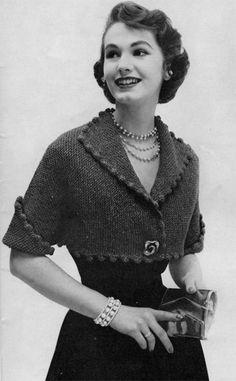 1950s fashion: Bolero Jacket Vintage Knitting Pattern