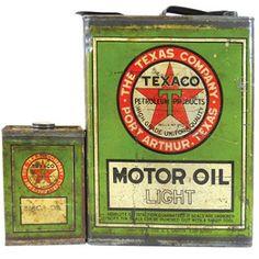 #Vintage Texaco Motor Oil http://collecting.wdfiles.com/local--files/image:vintage-texaco-motor-oil-cans/texaco_oil_cans.jpg