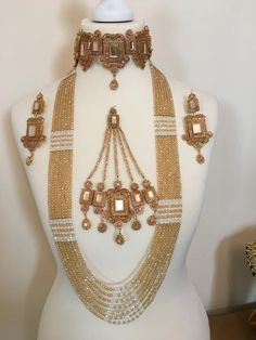 gold plated bridal set in semi precious stones. A plain nose rings can be added for free. Gold Jewellery Design, Bead Jewellery, Beaded Jewelry, Gold Wedding Jewelry, Bridal Jewelry Sets, Gold Jewelry, Bridal Jewellery, Indian Jewelry Earrings, Pakistani Jewelry