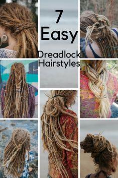 7 Easy Dreadlock Hairstyles - Dread Bun Dreadlock Plait. Girl with Dreads. Blonde Dreads. Simple Dread Hairstyles
