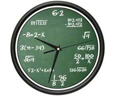 The Math Clock    Do you hate instantly knowing what time it is? Worry not fellow mathletes, the math clock is here to help. This math clock is a great gift for math teachers, math enthusiasts, and other insane people who somehow enjoy doing math even when they it isn't necessary.    Amazon.com