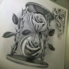 Rose Flowers In Hourglass Chicano Tattoo Design Hai Tattoos, Tatuajes Tattoos, Bild Tattoos, Rose Tattoos, Flower Tattoos, Art Chicano, Chicano Art Tattoos, Tattoos Skull, Body Art Tattoos