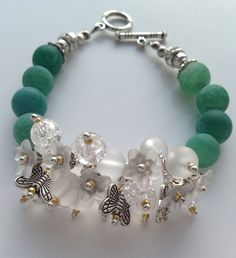 Matte agate (green) & matte crystal-quartz (white)