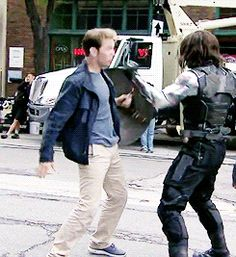 Sebastian Stan practicing a fight scene with Chris Evan's stunt double.