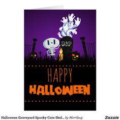 Halloween Graveyard Spooky Cute Skeleton & Ghosts