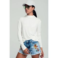 High neck long sleeves top in white