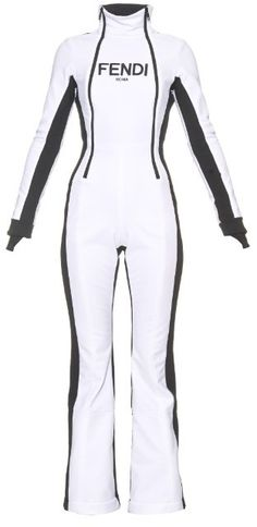 FENDI Technical ski jumpsuit  --  Make a sleek statement on the slopes with Fendi's white stretch-fabric ski jumpsuit. It's lined in warm fleece and designed to fit like a second skin with a black back and side panels and front logo. The elasticated-cuff ski gaiters will protect you against wet and powdery snow.