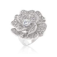 Large Flower Cubic Zirconia Cocktail Ring (size: 07) R08292R-C01-07