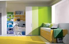 Cool-Yellow-Green-Teenage-Girls-Bedroom | Home Design, Interior Decorating, Bedroom Ideas - Getitcut.com