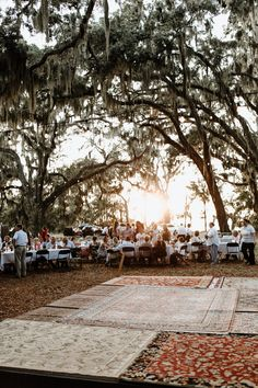 This DIY Georgia Wedding at Gascoigne Bluff was Catered by Waffle House – Junebug Weddings This DIY Georgia Wedding at Gascoigne Bluff was Catered by Waffle House Wedding reception dance floor made with thrifted vintage rugs for rustic vibes Dance Floor Wedding, Tent Reception, Outdoor Wedding Reception, Wedding Catering, Rustic Wedding, Trendy Wedding, Luxury Wedding, Wedding Ceremony, Wedding Venues