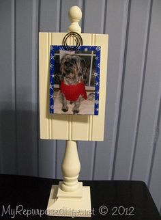Pedestal Photo Display pt 2 - My Repurposed Life® Rescue Re-imagine Repeat Scrap Wood Crafts, Wooden Crafts, Diy And Crafts, Spindle Crafts, Picture Holders, Photo Holders, Used Chairs, Chair Parts, Kids Wood