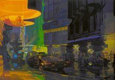 Syd Mead concept art of a street scene for the film Blade Runner.