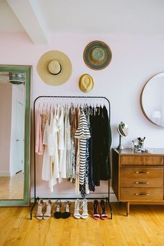 pale pink bedroom with green floor length mirror and black clothing rack with hats hung above and mid-century modern dresser and mirror / sfgirlbybay Source by elizakern clothes Pale Pink Bedrooms, Deco Studio, Mid Century Modern Dresser, Bedroom Wardrobe, Clothes Rack Bedroom, Open Wardrobe, Clothes Racks, Wardrobe Ideas, Diy Clothes