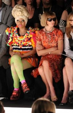 Nicki Minaj and Anna Wintour at the Carolina Herrera show. A chuckle is in order.