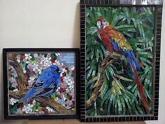Micro mosaic birds using stained glass
