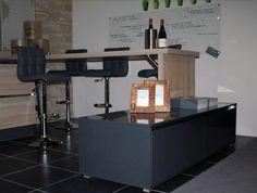 Systemat AV 1095 eiken zaagruw keuken, greeploos, met bar