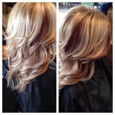 Blonde hair with red peek a boo highlights! #blondie #prettyhair @Victoria…