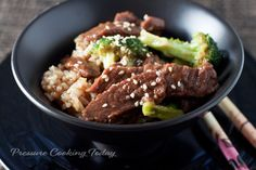 Pressure Cooker Beef and Broccoli-  I just got  new Pressure Cooker call the Instant Pot and I made this and it was probably the best home cooked meal I have EVER had!!!  Seriously!