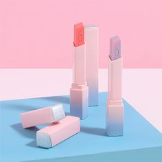 "ryeou: "" vdl x pantone, colour of the year rose quartz / serenity collection "" Cute Lipstick, Lipgloss, Lipsticks, Makeup Kit, Skin Makeup, Beauty Makeup, Cosmetic Packaging, Beauty Packaging, Best Makeup Brushes"