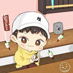EXO-CBX Chen Exo Anime, Anime Chibi, Exo Cartoon, Exo Stickers, Exo Fan Art, Xiuchen, Bts And Exo, Cute Chibi, Kpop Fanart