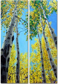 'Skyward - diptych' aspen tree art paintings by Jennifer Vranes, painting by…
