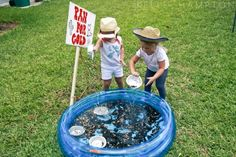 """cowboy birthday: panning for """"gold"""".wanted to do """"cowboy"""" party for Papa's didn't want it. Wild West Theme, Wild West Party, Cowgirl Birthday, Cowgirl Party, Cowboy Birthday Party Games, Cowboy Theme, Cowboy Games, Western Theme, Panning For Gold"""
