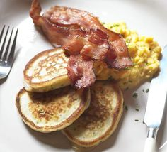 Use up leftover mashed potato in these breakfast pancakes, delicious with bacon and eggs