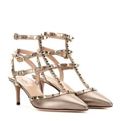 Valentino - Rockstud metallic leather kitten-heel pumps - Valentino's 'Rockstud' pumps are equal parts elegant and edgy. We love this new-season update to the iconic, studded style. The light bronze metallic leather is sublime. The low kitten heel keeps them comfortable enough for running around the office or dancing all night long. seen @ www.mytheresa.com