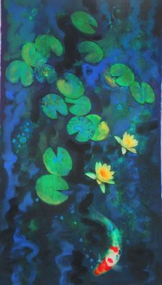 On Sale, Green of summer, 11x17, Koi, art, Fine art photography, with mixed medias, water lily, navy blue decor, lotus, fish, art, pond on Etsy, $75.00