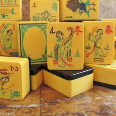 Vtg 1930s 160 Tiles 16 Flowers Chinese Bakelite Mahjong Set Black Wafer Backs | eBay