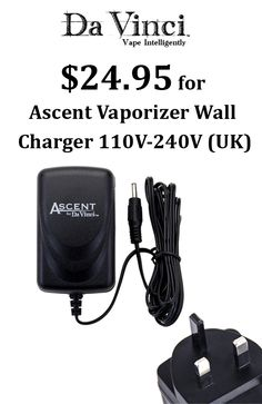 #DaVinci is offering 40% discount on all portable vaporizers along with free shipping on orders #DaVinci #Vaporizer is offering ascent vaporizer wall charger 110V-240V (UK) at $24.95. Place your order now and avail this offer. For more DaVinci Vaporizer Coupon Codes visit: http://www.couponcutcode.com/coupons/24-95-for-ascent-vaporizer-wall-charger-110v-240v-uk/