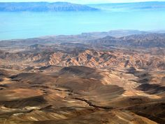The Negev wilderness. In the distance is the Dead Sea shrouded in haze