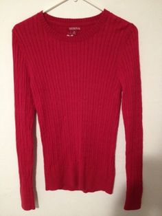 NWT!  MERONA Womens Sweater Cable Knit Red Sz S Soft Cotton/Wool/Rabbit Hair #Merona #Crewneck #rabbithair #wool #sweater