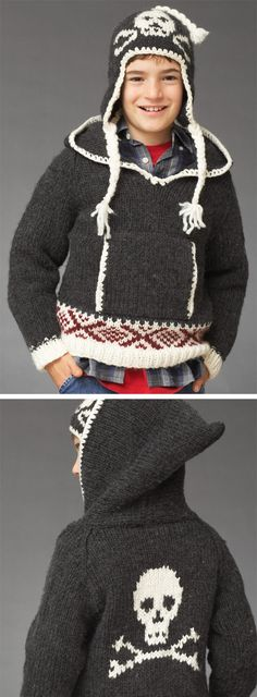 Free knitting pattern for Skull Hoodie with Hat
