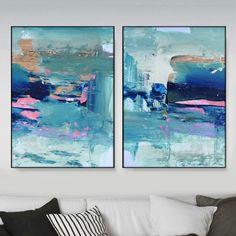 Abstract Art Print Set 2 Aqua Blue Abstract by DanHobdayArt Blue Abstract, Abstract Wall Art, Canvas Wall Art, Linocut Prints, Art Prints, Wall Art Sets, Art Auction, Fine Art Paper, Aqua Blue