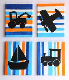 Train, tractor, airplane and boat wall art for a baby boy's nursery. I love it!
