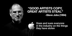 Steve Jobs, hypocrite of the highest order; also a coward who feared competition and believed his own farts didn't stink.