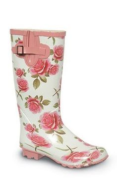 Pretty rainboots!! Get prepared for inclement weather with these super cute floral boots--- practical and fashionable.  You'll have fun looking at your feet all day! :: flower rainboots :: vintage style:: rainy day fashion