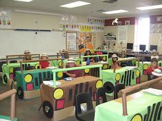 Tables/desks made to look like jeep!  Buzzing About Second Grade