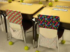 Stretchy book covers on chairs as storage for each students dry erase board, marker and sock. would make getting dry erase boards much faster!