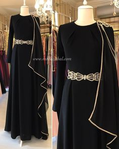 2019 Arabic Muslim Black Crystals Evening Dresses Long Sleeves A-line Satin Prom Dresses Cheap Formal Party Bridesmaid Pageant Gowns Petite Evening Dresses, Hijab Evening Dress, Hijab Dress Party, Hijab Style Dress, Long Sleeve Evening Dresses, Dress Long, Abaya Designs, Abaya Fashion, Muslim Fashion
