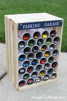 Basteln für Jungs - Garage für Spielzeugautos ganz einfach selber machen ***DIY Toy Car Storage Wooden Crate Hot Wheels Car Display and Garage