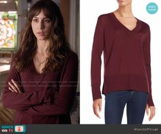 Spencer's burgundy v-neck sweater on Pretty Little Liars. Outfit Details: https://wornontv.net/59342/ #PLL