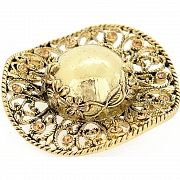 Vintage Style Golden Ladies Hat Crystal Pin Brooch
