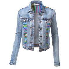 LE3NO Womens Mediumweight Cropped Long Sleeve Denim Jean Jacket ($35) ❤ liked on Polyvore featuring outerwear, jackets, jean jacket, cropped denim jacket, summer jackets, party jackets and long sleeve jacket