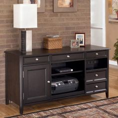 Ashley Carlyle Large Crendeza   The Sleek Design Of The Contemporary Styled  Carlyle Home Office Collection