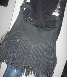 NEU *Fashion* ITALY* Wildleder Tasche Beutel Fransen groß schwarz L29xH28xB5 cm