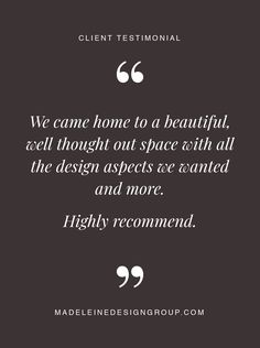 Client testimonial on our interior design work for their home in Vancouver, BC