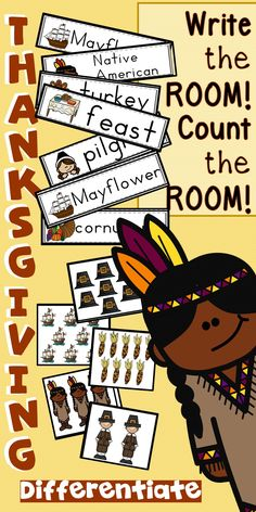 Thanksgiving activities for math and writing centers are so fun for the classroom.  This Thanksgiving write the room and count the room is sure to be a favorite literacy center and math center! My kindergarten class loves it!